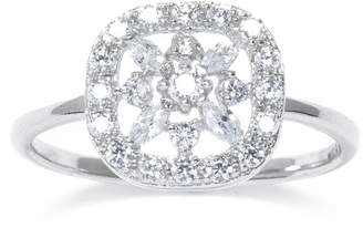 SILVER TREASURES Cubic Zirconia Sterling Silver Square Flower Ring