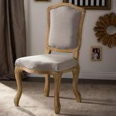 Baxton Studio Chateauneuf Vintage Light Brown Wood Finish Wood and Beige Fabric Upholstered Dining Chair
