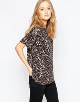 French Connection Electric Leopard T-Shirt In Chestnut