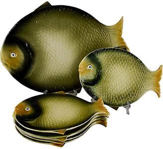 One Kings Lane Vintage Midcentury Italian Fish Service Set - Set of 7 - olive green/multi