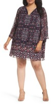 Vince Camuto Plus Size Women's Print Chiffon Shift Dress