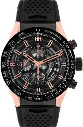 Tag Heuer Tag Black 18K Rose Gold And Titanum Carrera Caliber 01 CAR205A Men's Wristwatch 43 MM