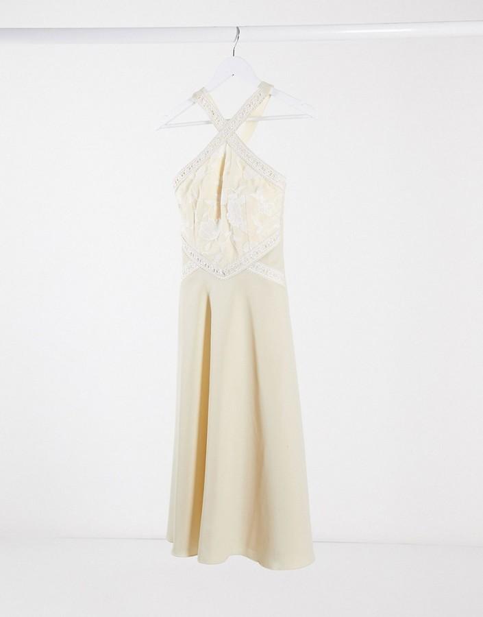 Little Mistress bridesmaid lace trim detail midi dress in buttercup yellow