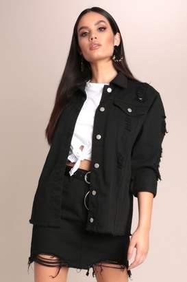 I SAW IT FIRST Black Denim Distressed Jacket