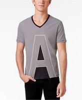 Armani Exchange Men's Stripe Logo Cotton V-Neck T-Shirt