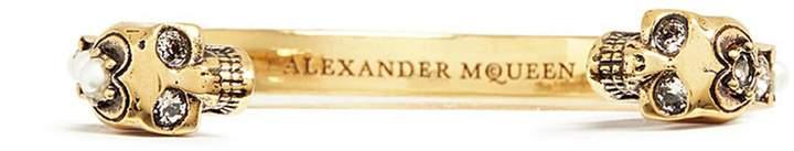 Alexander McQueen Swarovski crystal faux pearl twin skull cuff