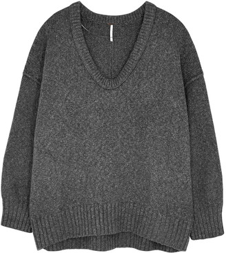Free People Brookside grey cotton-blend jumper