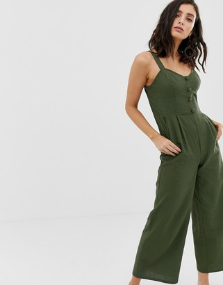 Moon River button through jumpsuit-Green