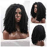 EO Afro Curly Synthetic Lace Front Wig Japanese Fiber Lace Front Synthetic Wig Long Afro Kinky Curly Synthetic Wig Heat Resistant (20inch)