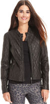 Studio M Quilted Faux-Leather Moto Jacket