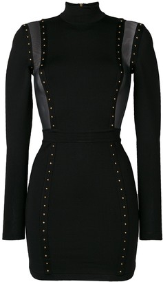 Balmain Studded Mesh Panelled Dress