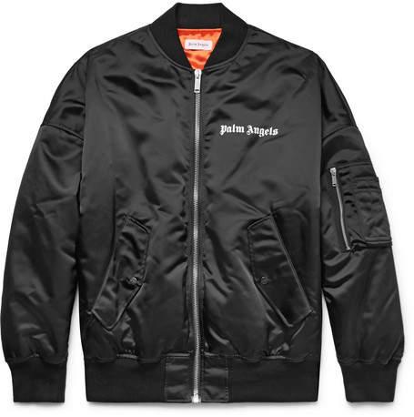 Palm Angels Logo-Print Shell Bomber Jacket