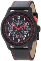 Versus By Versace Men's 3C73400000 Soho Black IP Coated Steel Black Dial Chronograph Leather Watch