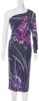 Just Cavalli One-Shoulder Feather Print Dress