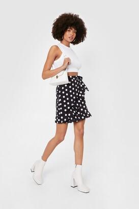 Nasty Gal Womens Polka Dot It Going On Ruffle Mini Skirt - Black - 6