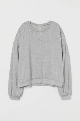 H&M Fine-knit Beaded Sweater - Gray