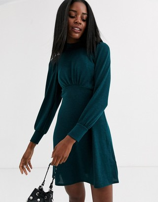 New Look high neck long sleeve mini dress in green