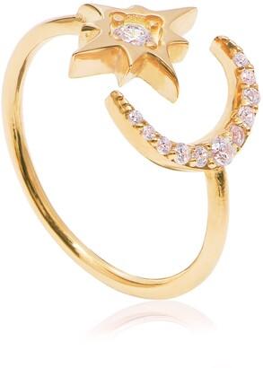 Gab+Cos Designs 14K Gold Vermeil Celestial CZ Moon & Star Adjustable Ring