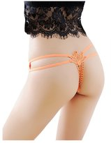 Bestgift Women's Solid Color Hollow Double Strap T-Back Thongs
