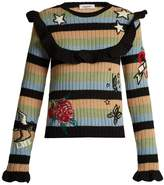 Valentino Embroidered striped ribbed-knit wool sweater