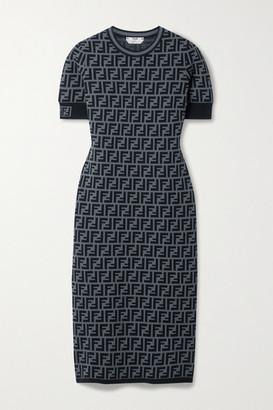 Fendi Jacquard-knit Midi Dress - Gray