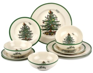 Spode Christmas Tree 12-Pc. Dinnerware Set, Created for Macy's