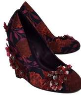 Tory Burch Red Pixie Floral Applique Satin Wedge Pumps