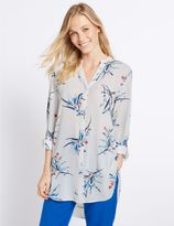 Marks and Spencer Floral Print Notch Neck Long Sleeve Tunic