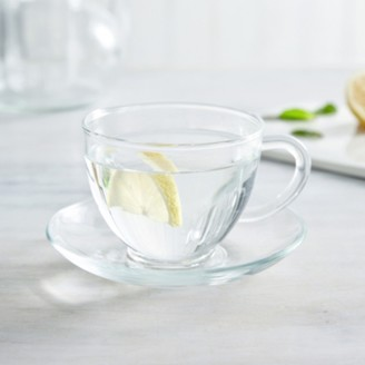 The White Company Glass Tea Cup & Saucer, Clear, One Size