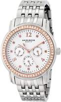 Akribos XXIV Women's AK626SS Lady Diamond Multifunction Diamond and Crystal -Tone Stainless Steel Bracelet Watch