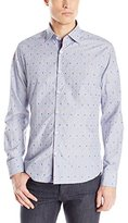 Stone Rose Men's Chambray Fil Coupe Long Sleeve Button Down Shirt