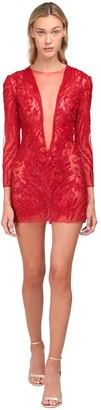 Yolancris Beaded Silk Blend Mini Dress