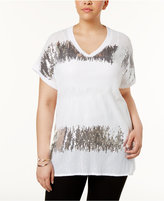 INC International Concepts Plus Size Popsicle Sequined Tunic, Only at Macy's