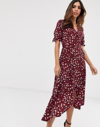 AX Paris floral midi wrap dress-Purple