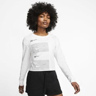 Nike Women's Long-Sleeve Crop T-Shirt Sportswear House of Innovation (NYC)