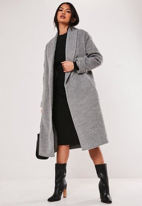 Missguided Gray Shawl Collar Coat