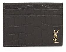 Saint Laurent Croc-Embossed Leather Credit Card Holder