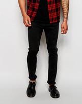 Cheap Monday Jeans Tight Skinny Fit Strobe Dark Acid Black - Black