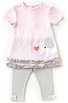 Starting Out Baby Girls 3-24 Months Flutter-Sleeve Elephant Top & Dotted Leggings Set
