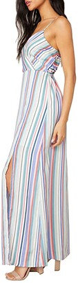 BB Dakota Printed Reverse Crepon Stripe Maxi with Front Slit (Multi Stripe) Women's Dress