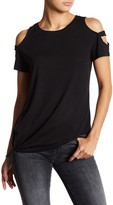 Sweet Romeo Cold Shoulder Cage Sleeve Front Tie Shirt