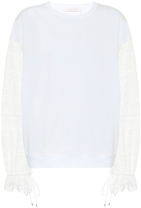 See by Chloe Lace-trimmed cotton top