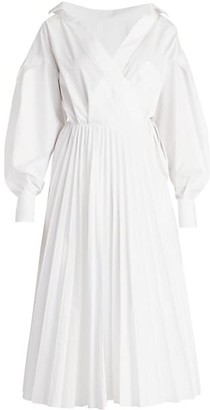 Valentino Poplin Puff-Sleeve Pleated Shirtdress