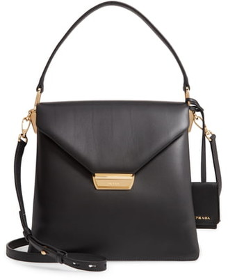 Prada New Calfskin Leather Envelope Shoulder Bag