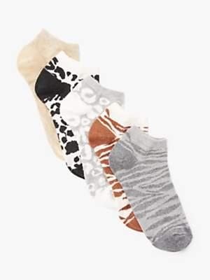 John Lewis & Partners Glitter Animal Print Low Top Socks, Pack of 5, Multi