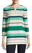 Lafayette 148 New York Moria Striped Cotton Blouse