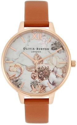 Olivia Burton Marble Florals rose gold-plated watch