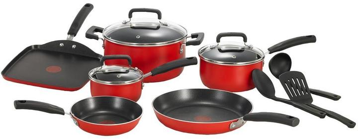 T-Fal Signature Total Non-Stick 12 Piece Cookware Set in Red