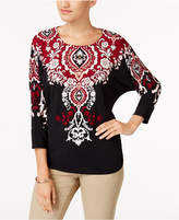 JM Collection Printed Dolman-Sleeve Top, Created for Macy's