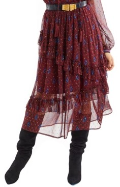 Allison New York Women's Metallic Ikat Ruffle Skirt